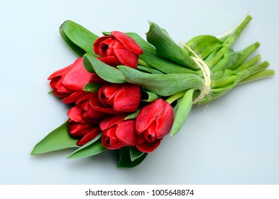 Tulips bouquet : red flowers for Valentine's day background
