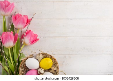 tulips with Easter eggs. with empty space