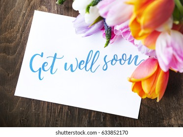 Tulips Flowers Bouquet with Get Well Soon Wishing Card