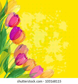 Tulips flowers and leafs on abstract yellow background