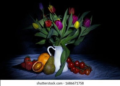 tulips and fruits - dead nature photography - light painting photography caravaggio style