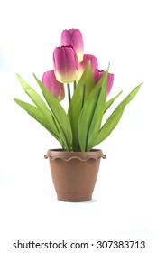 Tulips made of plastic.