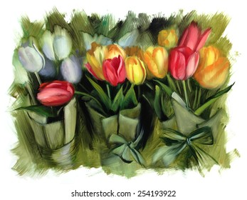tulips oil painting