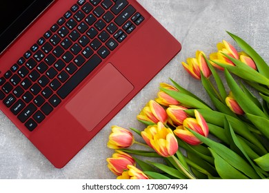 tulips on a computer keyboard