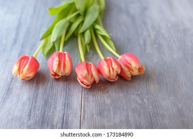 Tulips on gray wood table