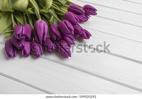 Tulips on white boards. Place to place your text.