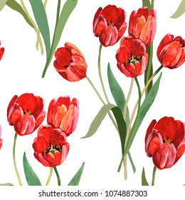 tulips red watercolor hand painting on white background seamless pattern for fabrics, paper