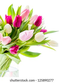 Tulips in vase over white
