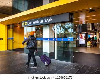 Tullamarine, VIC/Australia-June 15th 2018: the gate of domestic arrivals in Melbourne airport.
