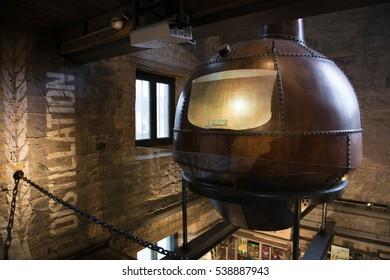 Tullamore, Ireland - November 11, 2016: Old copper cauldron at the Tullamore D.E.W. Visitor Centre