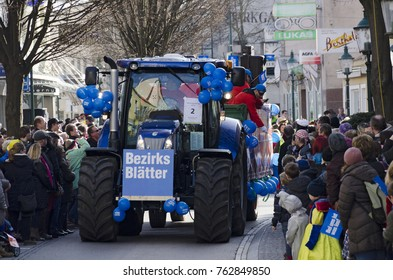 """TULLN, AUSTRIA - FEBRUARY 6, 2016: float of the newspaper """"County papers"""" at the carnival parade in the year 2016 at Tulln, Austria"""