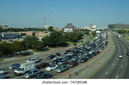 TULSA, OKLAHOMA—JUNE 2017: Late afternoon traffic jam on the interstate in Tulsa, Oklahoma.