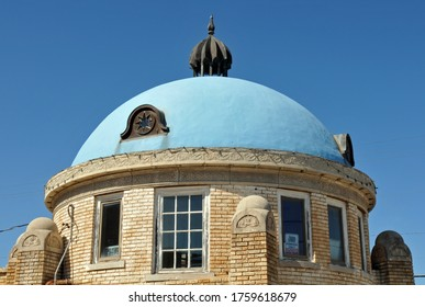 Tulsa, Oklahoma - Oct. 7, 2019: The historic Blue Dome building in Tulsa, Oklahoma. Originally a Gulf Oil service station dating from the 1920s along Route 66, it has since housed various businesses.
