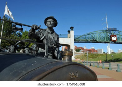 Tulsa, Oklahoma - Oct. 7, 2019: East Meets West, a statue by Robert Summers in Tulsa, Oklahoma, pays tribute to Cyrus Avery, known as the Father of Route 66.