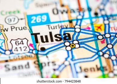 Tulsa. Oklahoma. USA on a map