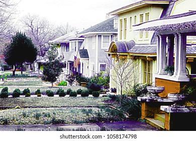 Tulsa, Oklahoma/USA, March 29, 2018:  Oil Capital Historic District suburban neighborhood of houses