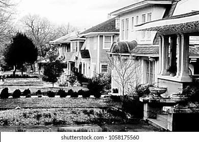 Tulsa, Oklahoma/USA, March 29, 2018:  Historical homes in downtown Tulsa, black and white photo
