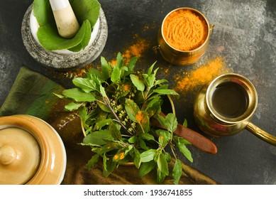 Tulsi leaves turmeric powder Indian Ayurveda anti virus antiseptic medicine, pray mantras Hindu ritual ceremony. Ocimum tenuiflorum, holy basil divine tulasi, aromatic perennial plant family Lamiaceae