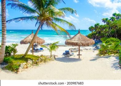 Tulum Beach at Penisula Yucatan in Mexico