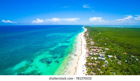 Tulum beach Quintana Roo México - drone shot