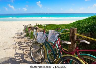 Tulum Caribbean beach bicycles in Riviera Maya of Mayan Mexico