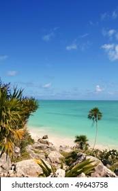 tulum mayan riviera tropical beach palm trees turquoise caribbean sea