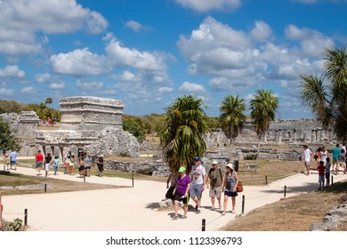 Tulum, Mexico - 2017-02-25 : Tourists visit the ruins of Tulum on the Mayan Riviera in Mexico, North America