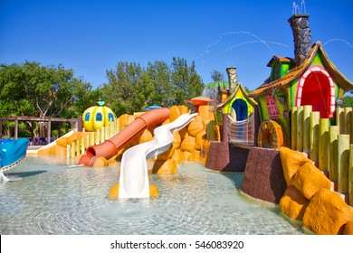 TULUM, MEXICO - DECEMBER 1, 2016: Kids water park and slides at the Bahia Principe Coba resort in Tulum Mexico.