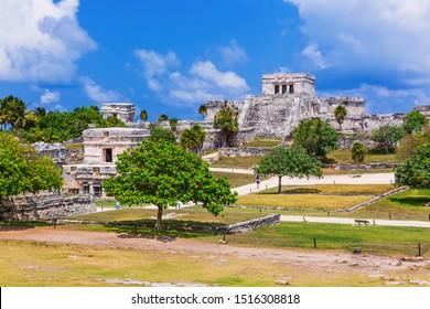 Tulum, Mexico. El Castillo (castle) the main temple of the Mayan city.