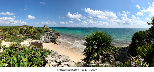 Tulum, Mexico - February 01 2019: panorama view of Tulum beach in the Caribbean sea in Mexico