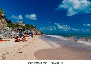 Tulum. Mexico - February 02 2019: tropical landscape of the Mayan riviera in Mexico in the tourist area of Tulum