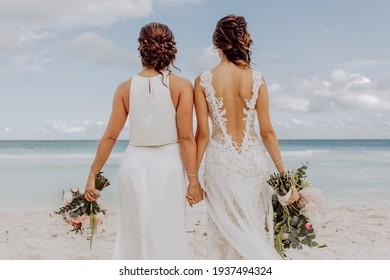 Tulum, Mexico - January 29, 2017: same sex wedding at the beach