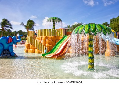 TULUM, MEXICO - NOVEMBER 29, 2016: Kids water park and slides at the Bahia Principe Coba resort in Tulum Mexico.