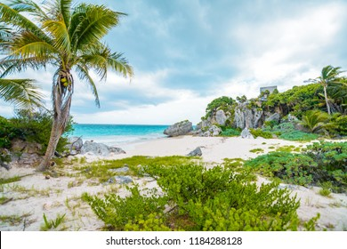 Tulum, Mexico - October 12, 2017: Mayan Ruins in Tulum, also known as Tulum Ruins.