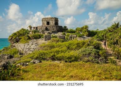 Tulum Ruins by the beautiful coast of the Yucatan Peninsula