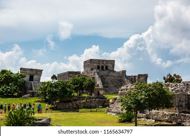 Tulum (Yucatan), Mexico, 08.15.2018: touristic tour in the Tulum national park visiting the Mayan ruins.