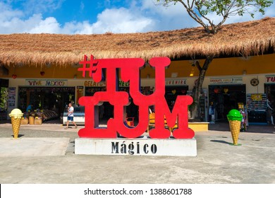 TULUM,MEXICO - APRIL 18,2019 :  Sign at the entrance of a traditional souvenirs shop at Tulum in the Mayan Riviera