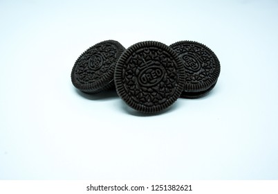 TULUNGAGUNG, INDONESIA – Desember 7, 2018: Oreo Cookies isolated on white background. Oreo made by Mondelez International.