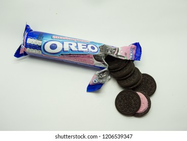 TULUNGAGUNG, INDONESIA – October 19, 2018:  Oreo Strawberry Cream Sandwich Cookies on white background.  Oreo made by Mondelez
