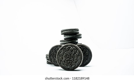 TULUNGAGUNG, INDONESIA – September 18, 2018: Oreo Chocolate Sandwich Cookies isolated on white background.  with a sweet vanila cream filling in between. Oreo made by Mondelez Int