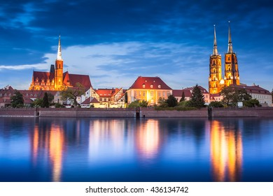 Tum island from river side. Wroclaw cityscape, Poland