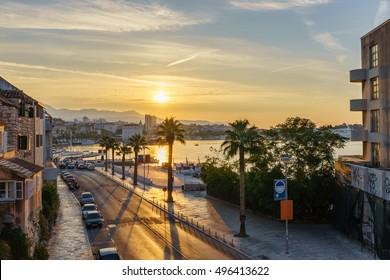 Tumbiceva Obala street and Matejuska harbour of Split at sunrise, Croatia