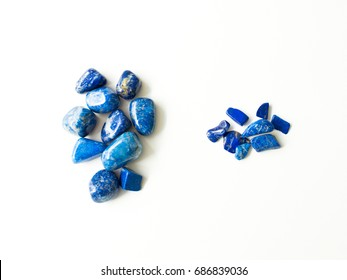 Tumbled lapis lazuli Quartz stones and fragments for crystal therapy treatments and reiki