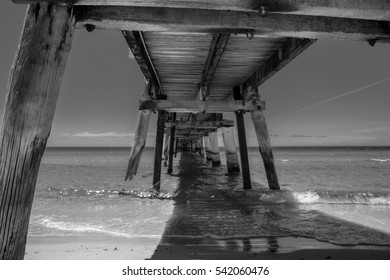 Tumby Bay Jetty, Black and White, old timber structure, Eyre Peninsula, South Australia, Australia.