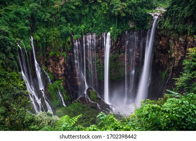 Tumpak Sewu Waterfall on a long exposure, view from the eastern slope.