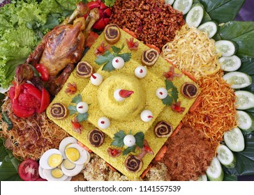 Tumpeng is yellow rice in conical form used in special ceremony in javanese culture Indonesia