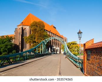 Tumski Bridge and St. Mary's Church in Wroclaw, Poland