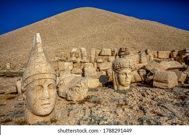 Tumulus of Antiochos, Mount Nemrut, Adıyaman, Turkey. The UNESCO World Heritage Site at Mount Nemrut where King Antiochus of Commagene is reputedly entombed.
