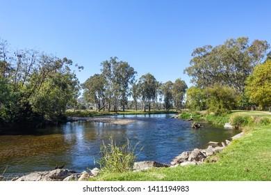 Tumut River in Pioneer Park. Beautiful view along river bank in regional Australia. Tumut, NSW, Australia