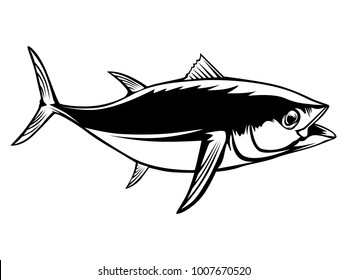 Tuna big fishing on white logo illustration. illustration can be used for creating logo and emblem for fishing clubs, prints, web and other crafts.